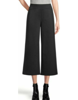 Ann Taylor Factory Houndstooth Ponte Pull On Wide Leg Crop Pants