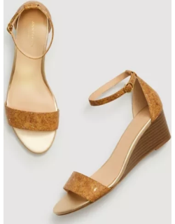 Ann Taylor Factory Cork Ankle Strap Wedge Sandals