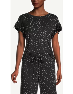 Ann Taylor Factory Dotted Ruffle Pajama Top