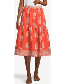 Ann Taylor Factory Floral Tiered Pocket Midi Skirt