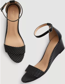 Ann Taylor Factory Dotted Ankle Strap Wedge Sandals