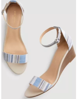Ann Taylor Factory Striped Ankle Strap Wedge Sandals