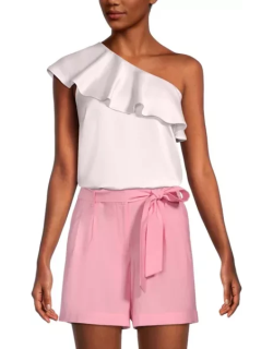 Ann Taylor Factory Petite Ruffle One Shoulder Top