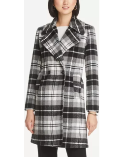 Ann Taylor Plaid Double Breasted Coat