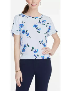 Ann Taylor Petite Floral Mixed Media Tee