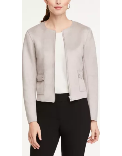 Ann Taylor Faux Suede Collarless Jacket