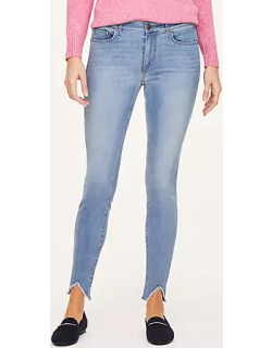 LOFT Petite Frayed Skinny Ankle Jeans in Cosmos Blue Wash