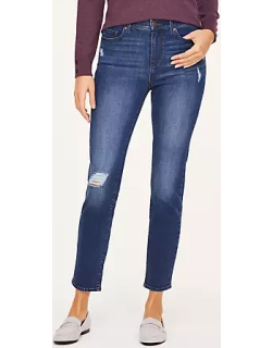 LOFT Destructed High Rise Straight Leg Jeans in Bell Aire Wash
