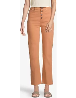 Loft Petite Curvy Button Front High Rise Straight Jeans in Copper Tan