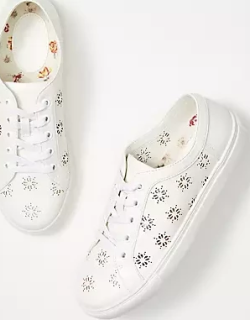 LOFT Perforated Floral Lace Up Sneakers