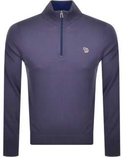 PS By Paul Smith Zip Neck Knitted Jumper Grey