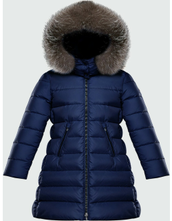 Abelle Long Quilted Puffer Coat w/ Fur Trim,