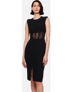 Alexander McQueen Fitted dress with lace insert