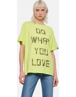 Golden Goose Lime-colored Aira T-shirt with contrasting black lettering on the front