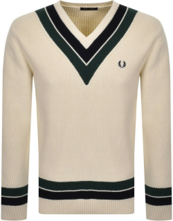 Fred Perry V Neck Knit Jumper Cream
