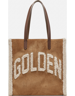 Golden Goose North-South California Bag in suede with shearling