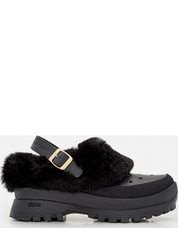 Stella McCartney TRACE RUBBER AND FAUX SHEARLING SLIPPERS