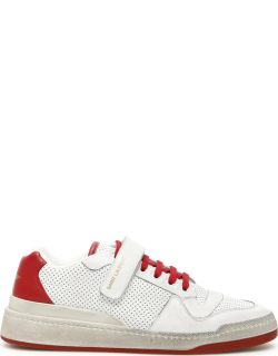 SAINT LAURENT SL24 SNEAKERS 40 White, Red Leather