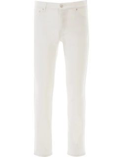 MSGM SKINNY JEANS WITH FLUO LABEL 48 White Cotton, Denim