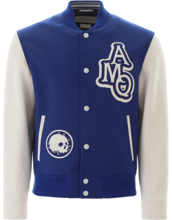 ALEXANDER MCQUEEN VARSITY JACKET WITH LEATHER LOGO PATCH 48 Blue, White Leather, Wool