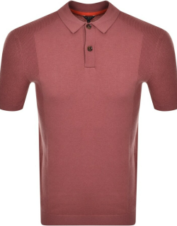 Ted Baker Bump Knitted Polo Shirt Pink