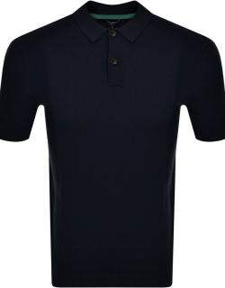 Ted Baker Bump Knitted Polo Shirt Navy