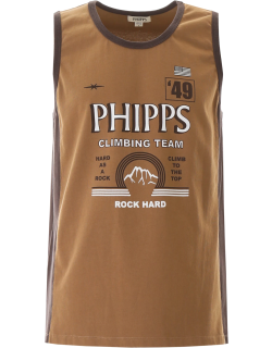PHIPPS PRINTED TANK TOP S Brown, White Cotton
