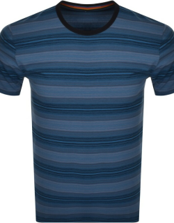PS By Paul Smith Crew Neck Stripe T Shirt Blue