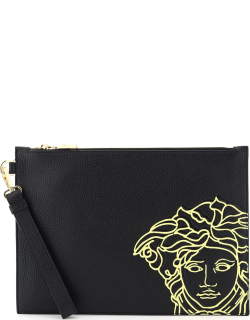 VERSACE MEDUSA PRINT POUCH OS Black, Yellow Leather