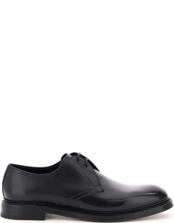 DOLCE & GABBANA GIOTTO LEATHER LACE-UP SHOES 40 Black Leather