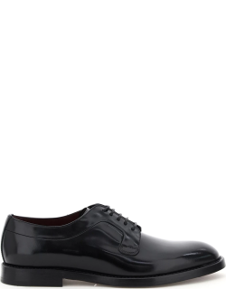 DOLCE & GABBANA GIOTTO LEATHER LACE-UP SHOES 42 Black Leather
