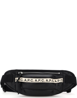 A.P.C. BANANE REPEAT FAUX LEATHER BELTPACK LOGO OS Black Faux leather