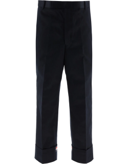 THOM BROWNE WIDE LEG TROUSERS 2 Blue Cotton