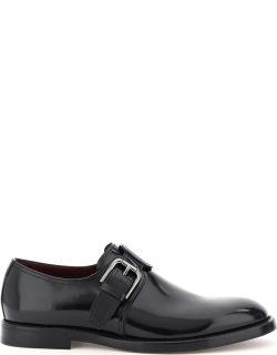 DOLCE & GABBANA GIOTTO MONK SHOES 39 Black Leather