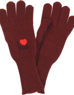 RAF SIMONS WOOL GLOVES I LOVE YOU S Red Wool