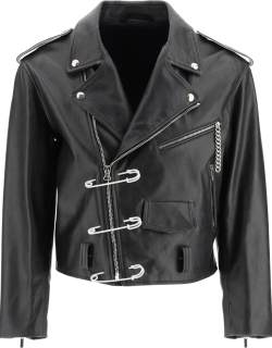 RAF SIMONS BIKER JACKET WITH SAFETY PIN 48 Black Leather