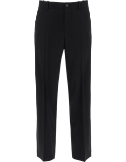 LOEWE ANAGRAM EMBROIDERED FORMAL TROUSERS 48 Black Cotton, Wool