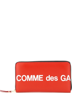 COMME DES GARCONS WALLET ZIPAROUND WALLET HUGE LOGO OS Red, White Leather