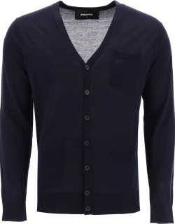 DSQUARED2 CARDIGAN WITH EMBROIDERED LOGO M Blue Wool
