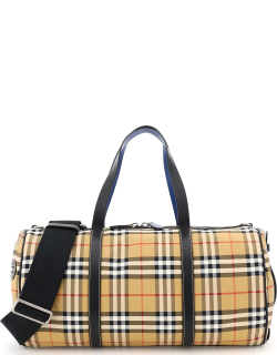 BURBERRY LARGE KENNEDY DUFFLE BAG OS Beige, Black, Red Leather, Technical