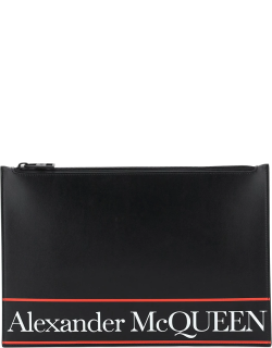 ALEXANDER MCQUEEN FLAT POUCH LOGO SELVEDGE OS Black, White, Red Leather