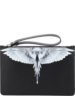 MARCELO BURLON POUCH WITH WINGS PRINT OS Black, White Leather