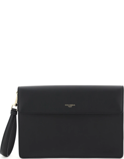 DOLCE & GABBANA DOCUMENT POUCH OS Black Leather