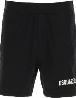 DSQUARED2 JERSEY SHORTS WITH LOGO S Black Cotton