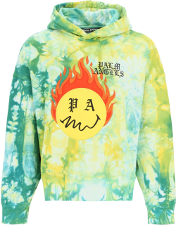 PALM ANGELS TIE-DYE BURNING HOODIE S Green, Yellow, Red Cotton