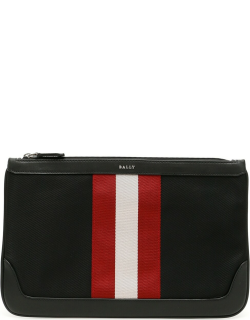 BALLY TRAINSPOTTING CAYARD POUCH OS Black, Red, White Leather, Technical