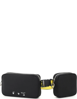OFF-WHITE DOUBLE BODY BAG WITH LOGO OS Black, Yellow Technical, Leather