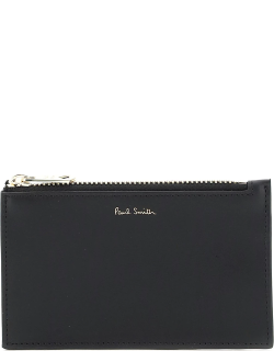 PAUL SMITH SIGNATURE STRIPE CARD POUCH OS Black Leather