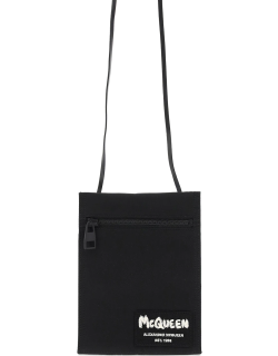 ALEXANDER MCQUEEN CROSSBODY POUCH WITH GRAFFITI LOGO EMBROIDERY OS Black Leather