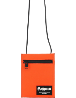 ALEXANDER MCQUEEN CROSSBODY POUCH WITH GRAFFITI LOGO EMBROIDERY OS Orange, Black Leather